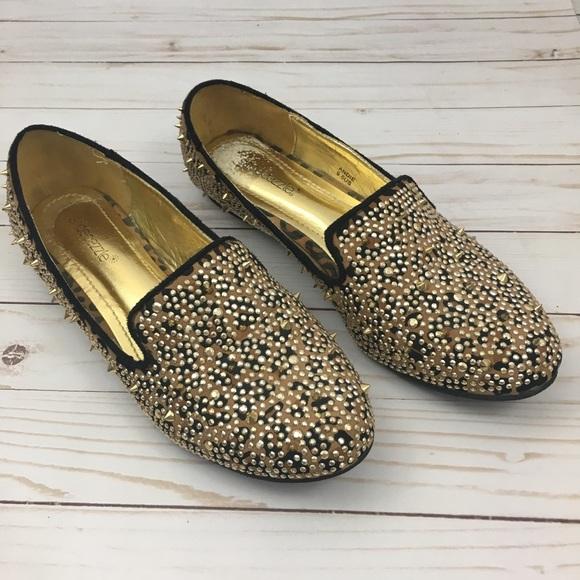 bb368fe0ca Shoe Dazzle Shoes | Andre Spike Cheetah Rhinestone Loafer | Poshmark